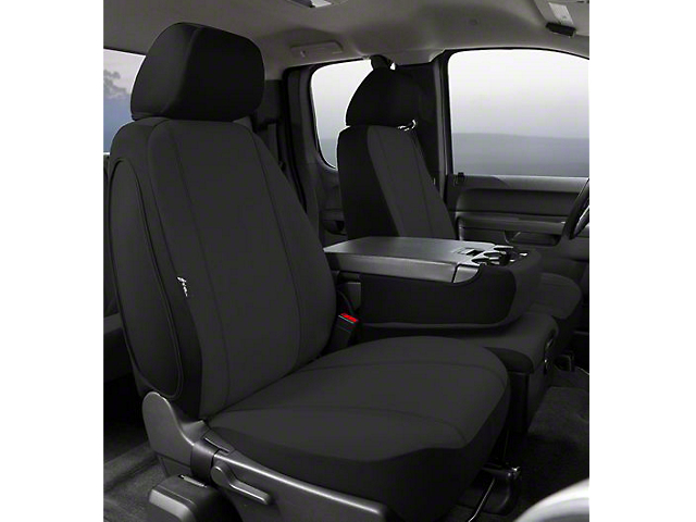 Fia Custom Fit Poly-Cotton Front Seat Covers - Black (07-13 Sierra 1500 w/ Bench Seat)