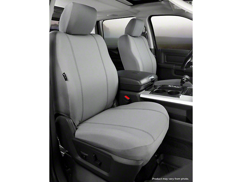 Fia Custom Fit Poly-Cotton Front Seat Covers - Gray (07-13 Sierra 1500 w/ Bucket Seats)