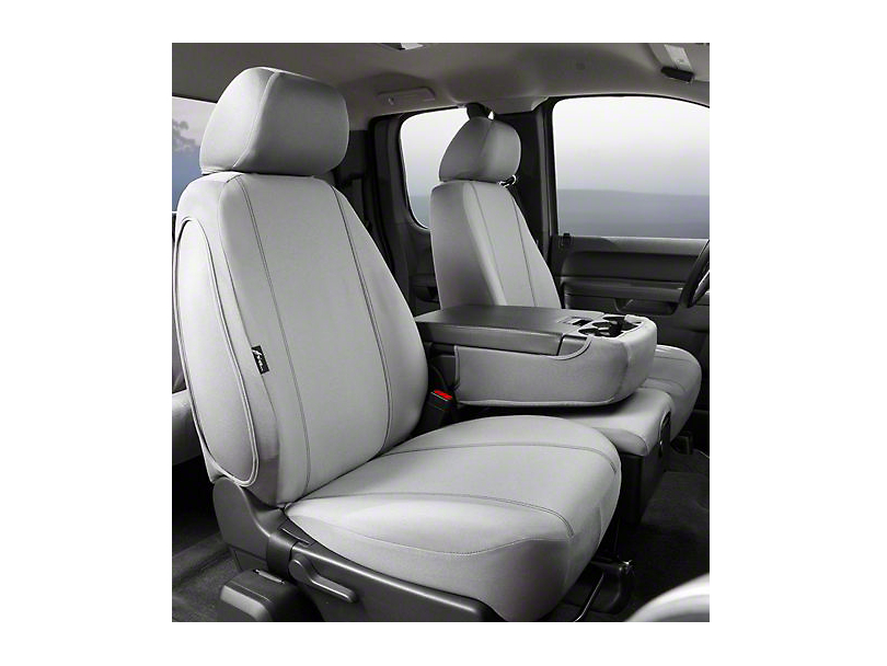 Fia Custom Fit Poly-Cotton Front Seat Covers - Gray (07-13 Sierra 1500 w/ Bench Seat)