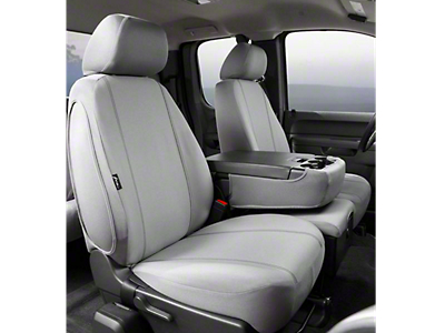 Fia Custom Fit Poly-Cotton Front Seat Covers - Gray (10-13 Bench Seat with adjustable headrests, side airbags, armrest/storage compartment with cup holders, center cushion compartment)