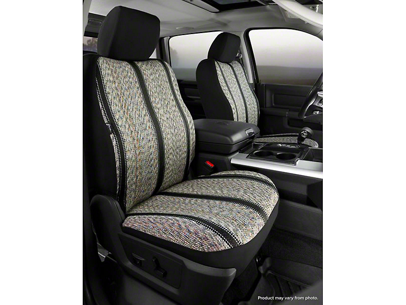 Fia Custom Fit Saddle Blanket Front Seat Covers - Black (07-13 Sierra 1500 w/ Bucket Seats)