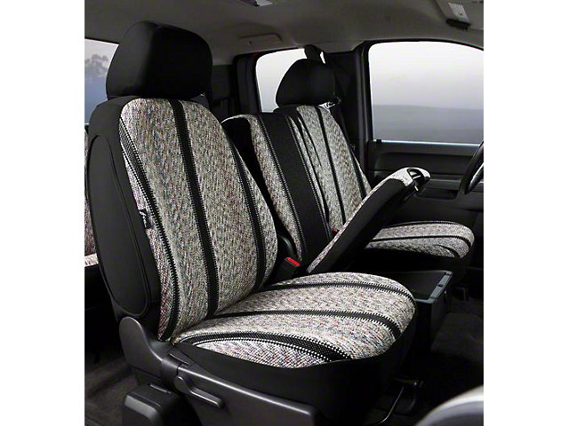 Fia Custom Fit Saddle Blanket Front Seat Covers - Black (07-13 Sierra 1500 w/ Bench Seat)
