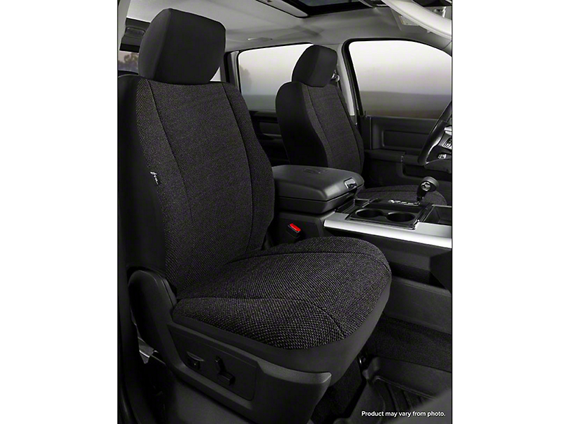 Fia Custom Fit Solid Saddle Blanket Front Seat Covers - Black (07-13 Sierra 1500 w/ Bucket Seats)