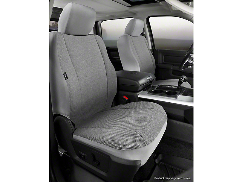 Fia Custom Fit Solid Saddle Blanket Front Seat Covers - Gray (07-13 Sierra 1500 w/ Bucket Seats)