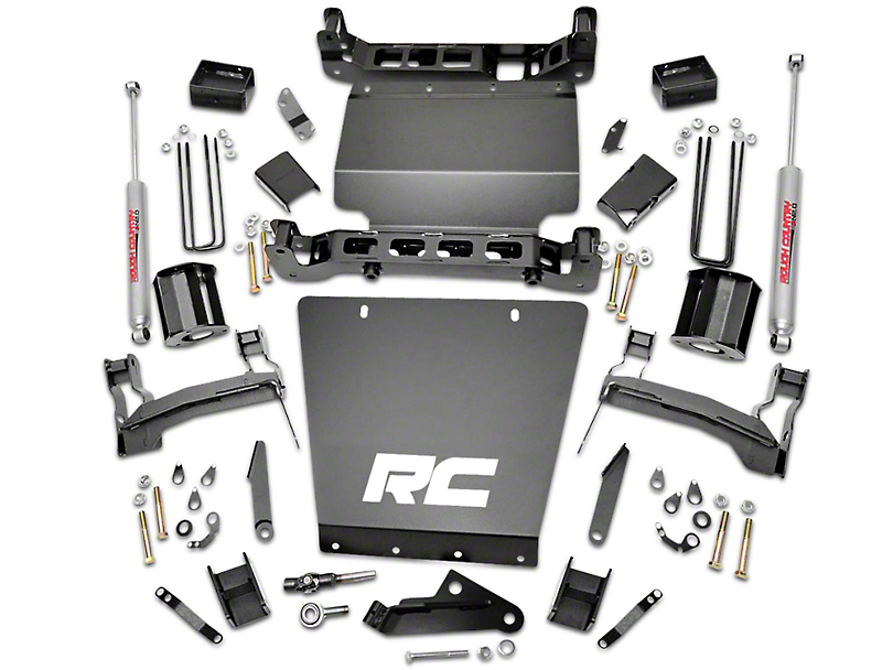 Rough Country 5 in. Suspension Lift Kit w/ Shocks - Bracket Kit (14-18 4WD Sierra 1500, Excluding Denali)