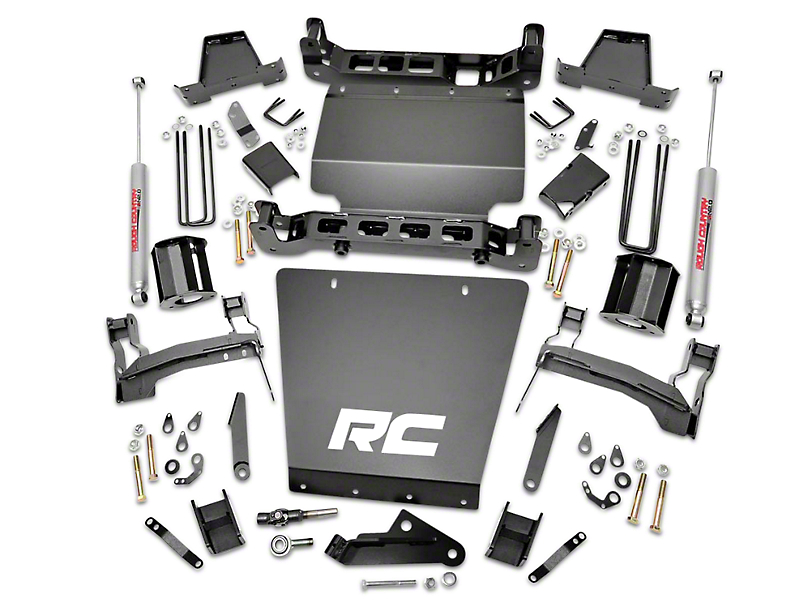 Rough Country 7 in. Suspension Lift Kit w/ Shocks (14-18 4WD Sierra 1500 w/ Stock Cast Steel or Aluminum Control Arms, Excluding Denali)