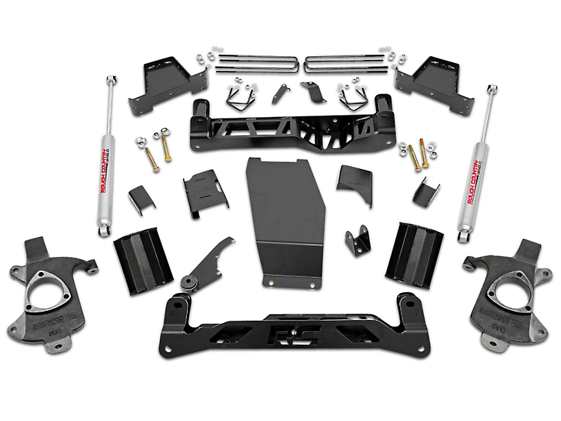 Rough Country 7 in. Suspension Lift Kit w/ Lifted Knuckles & Shocks (14-18 4WD Sierra 1500 w/ Stock Cast Steel or Aluminum Control Arms, Excluding Denali)