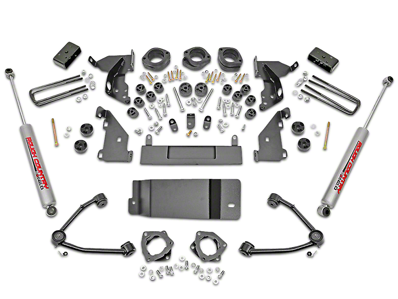 Rough Country 4.75 in. Suspension & Body Lift Kit w/ Upper Control Arms (14-18 4WD Sierra 1500 w/ Stock Cast Steel or Aluminum Control Arms)