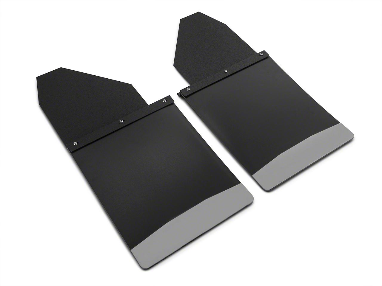 Husky 14 in. Wide KickBack Mud Flaps - Textured Black Top & Stainless Steel Weight (07-18 Sierra 1500)