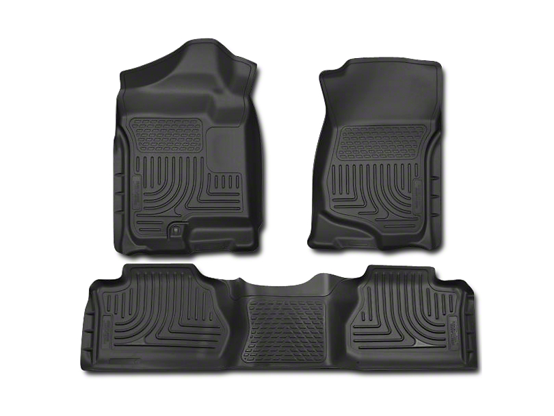 Husky WeatherBeater Front & 2nd Seat Floor Liners - Footwell Coverage - Black (07-13 Sierra 1500 Extended Cab, Crew Cab)