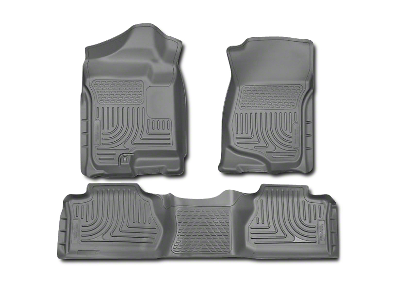 Husky WeatherBeater Front & 2nd Seat Floor Liners - Footwell Coverage - Gray (07-13 Sierra 1500 Extended Cab, Crew Cab)