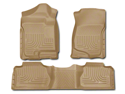 Husky WeatherBeater Front & 2nd Seat Floor Liners - Footwell Coverage - Tan (07-13 Sierra 1500 Extended Cab, Crew Cab)