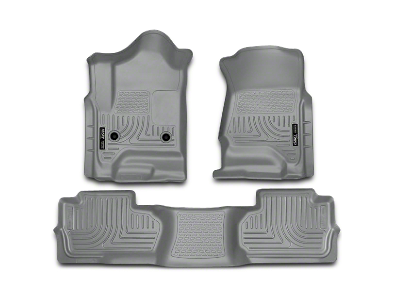 Husky WeatherBeater Front & 2nd Seat Floor Liners - Footwell Coverage - Gray (14-18 Sierra 1500 Double Cab, Crew Cab)
