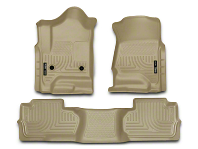 Husky WeatherBeater Front & 2nd Seat Floor Liners - Footwell Coverage - Tan (14-18 Sierra 1500 Double Cab, Crew Cab)
