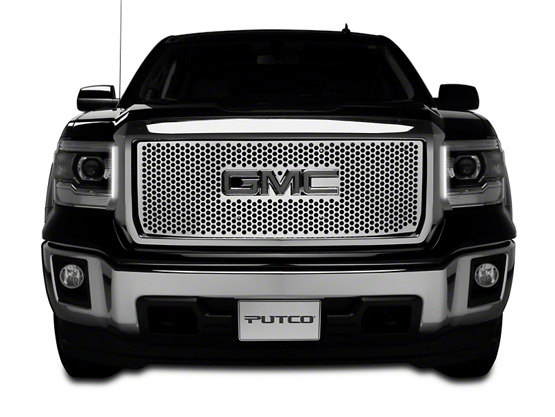Putco Punch Stainless Steel Upper Overlay Grille w/ Logo Cutout (14-15 Sierra 1500 Base, SLE, SLT)