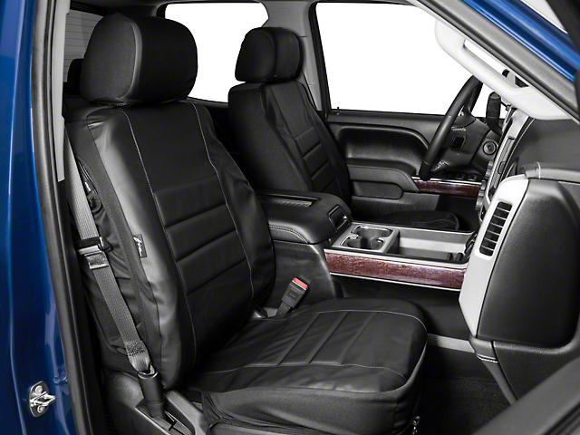 Fia Custom Fit Leatherlite Front Seat Covers - Black (14-18 Sierra 1500 w/ Bucket Seats)