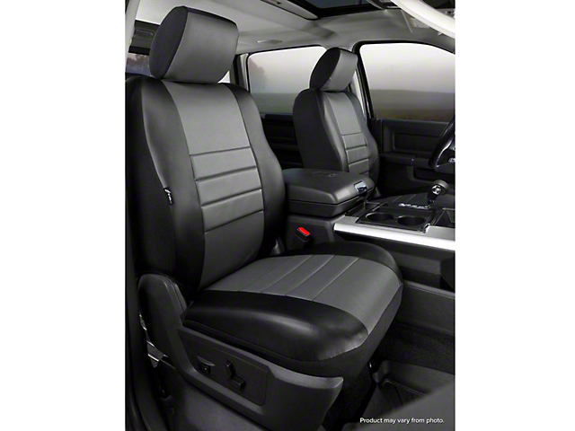 Fia Custom Fit Leatherlite Front Seat Covers - Gray (14-18 Sierra 1500 w/ Bucket Seats)