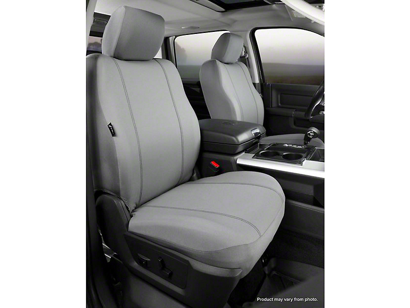 Fia Custom Fit Poly-Cotton Front Seat Covers - Gray (14-18 Sierra 1500 w/ Bucket Seats)