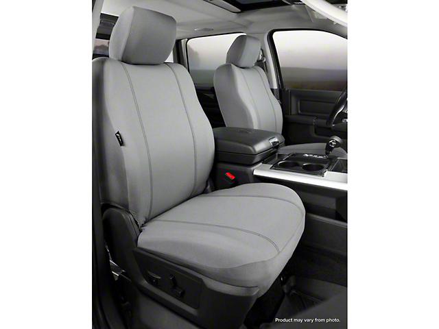 Fia Custom Fit Poly-Cotton Front Seat Covers; Gray (14-18 Sierra 1500 w/ Bucket Seats)