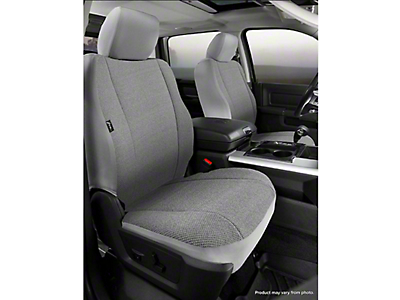 Fia Custom Fit Solid Saddle Blanket Front Seat Covers - Gray (14-18 Sierra 1500 w/ Bucket Seats)