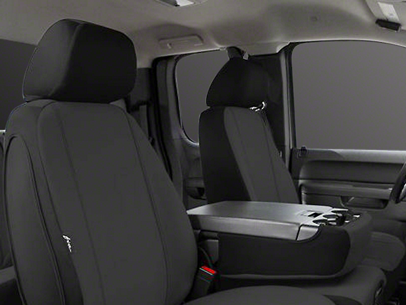 Fia Custom Fit Poly-Cotton Front Seat Covers - Black (14-18 Sierra 1500 w/ Bench Seat)