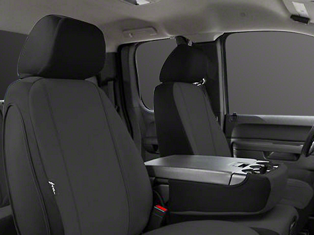 Fia Custom Fit Poly-Cotton Front Seat Covers; Black (14-18 Sierra 1500 w/ Bench Seat)