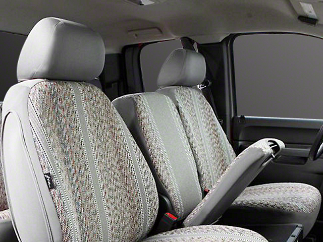 Fia Custom Fit Saddle Blanket Front Seat Covers - Gray (14-18 Sierra 1500 w/ Bench Seat)
