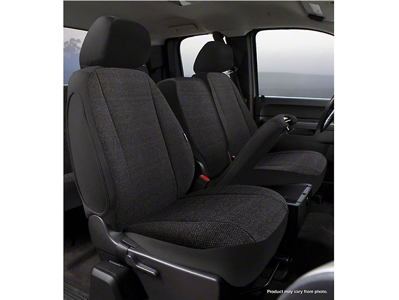 Fia Custom Fit Solid Saddle Blanket Front Seat Covers - Black (14-18 Sierra 1500 w/ Bench Seat)