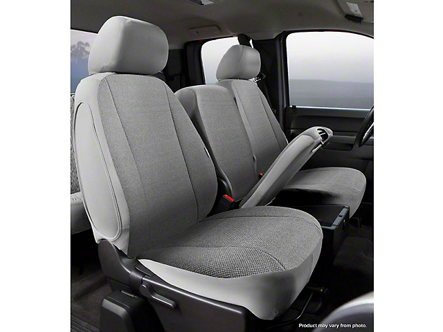 Fia Custom Fit Solid Saddle Blanket Front Seat Covers - Gray (14-18 Sierra 1500 w/ Bench Seat)