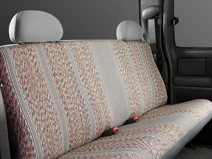 Fia Custom Fit Saddle Blanket Rear Seat Cover - Gray (14-18 Sierra 1500 Double Cab, Crew Cab)