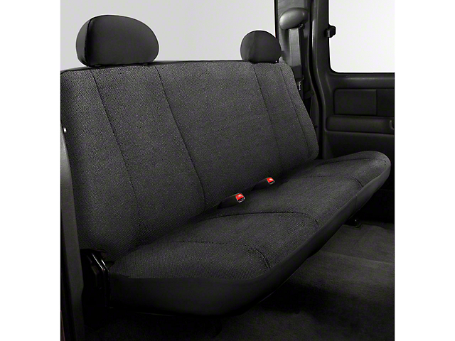 Fia Custom Fit Solid Saddle Blanket Rear Seat Cover - Black (14-18 Sierra 1500 Double Cab, Crew Cab)