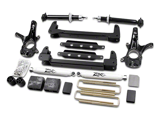 Zone Offroad 6.5 in. IFS Suspension Lift Kit w/ Shocks (07-13 2WD Sierra 1500, Excluding Hybrid)