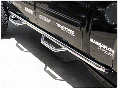 N-Fab Wheel 2 Wheel Nerf Side Step Bars - Polished Stainless (14-18 Sierra 1500 Double Cab, Crew Cab)