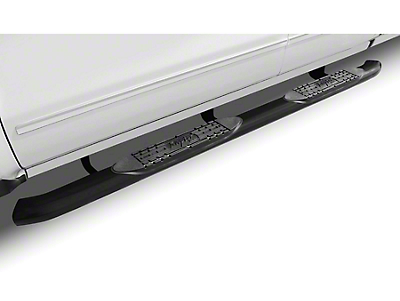 Raptor Series 4 in. OE Style Curved Oval Side Step Bars - Black - Rocker Panel Mount (07-13 Sierra 1500)