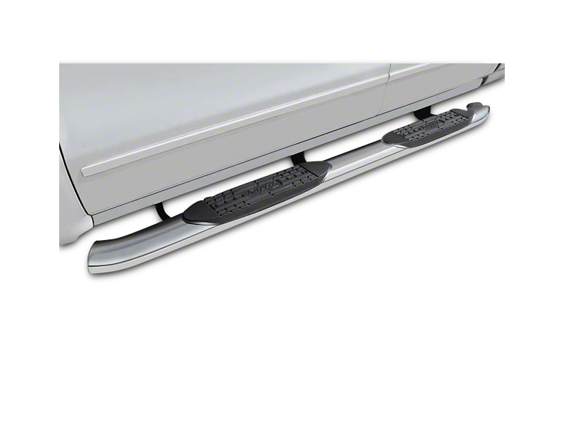 Raptor Series 5 in. OE Style Curved Oval Side Step Bars - Polished Stainless - Rocker Panel Mount (07-13 Sierra 1500)