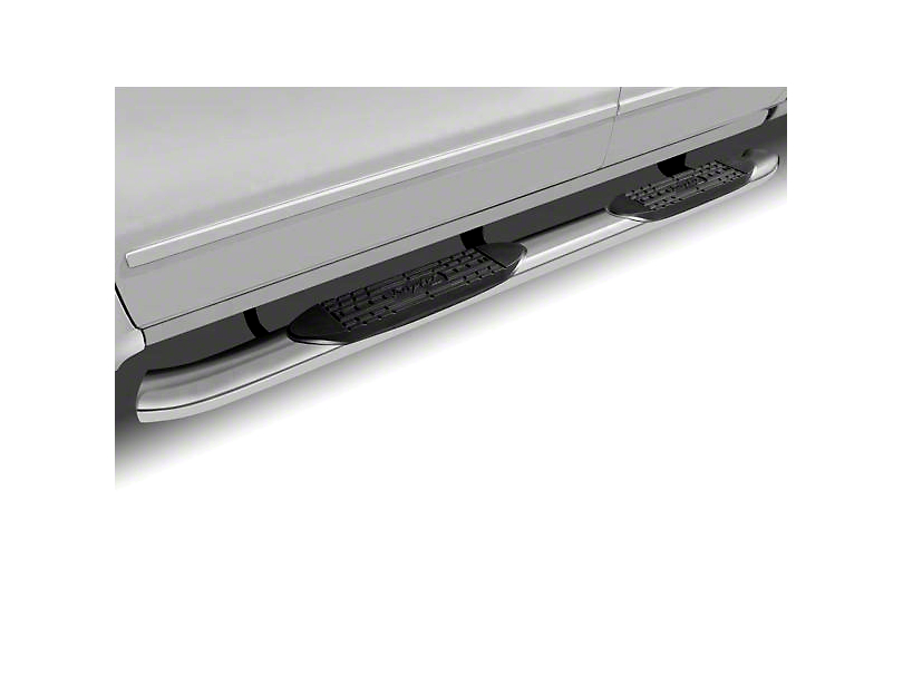 Raptor Series 5 in. OE Style Curved Oval Side Step Bars - Polished Stainless - Rocker Panel Mount (14-18 Sierra 1500)
