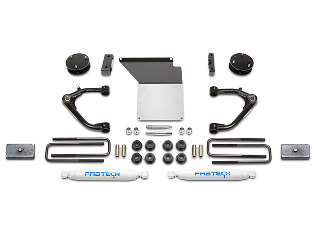 Fabtech 4 in. Uniball Upper Control Arm System w/ Performance Shocks (14-18 2WD/4WD Sierra 1500 Double Cab, Crew Cab w/ Stock Cast Steel Control Arms, Excluding Denali)