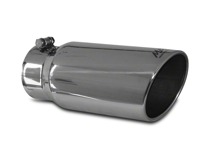 MBRP 5 in. Angled Rolled Edge Exhaust Tip - Polished Stainless - 4 in. Connection (07-19 Sierra 1500)