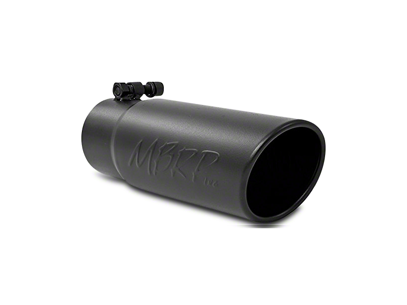 MBRP 3.5 in. Angled Rolled Edge Exhaust Tip - Black Coated - 3 in. Connection (07-18 Sierra 1500)