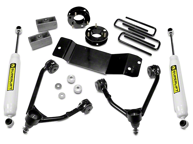SuperLift 3.50-Inch Upper Control Arm Leveling Kit with Superide Shocks (07-18 4WD Sierra 1500, Excluding 14-18 Denali)