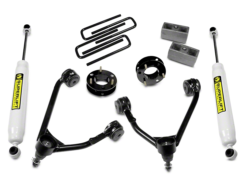 SuperLift 3.5 in. Upper Control Arm Leveling Kit w/ Superide Shocks (14-18 2WD Sierra 1500, Excluding Denali)
