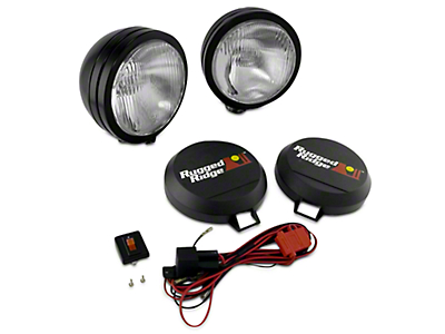 Rugged Ridge 6 in. Round HID Off-Road Fog Lights - Black - Pair