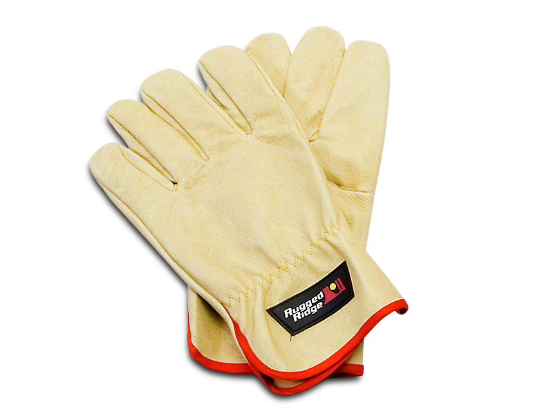 Rugged Ridge Leather Recovery Gloves - Tan