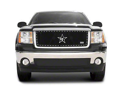 RBP RX-5 HALO Series Studded Frame Upper Grille Insert - Black (07-13 Sierra 1500, Excluding All-Terrain Package)