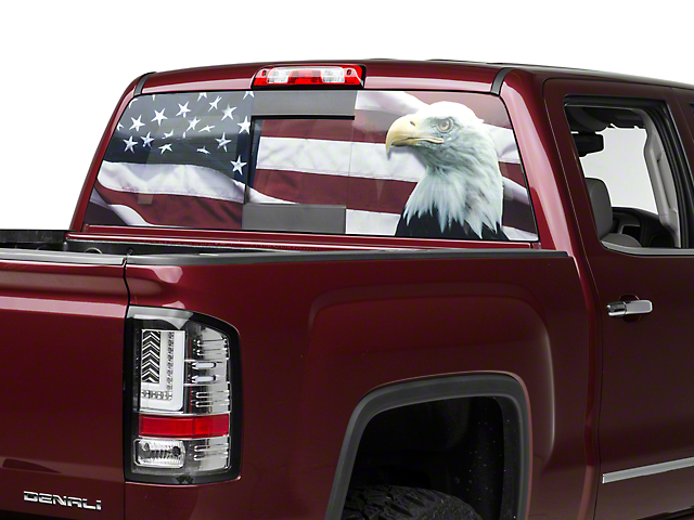 Flag eagle rear window decal 07 18 sierra 1500