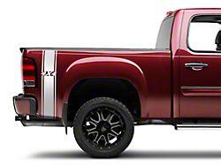 SEC10 Rear Vertical Stripe with 4x4 Logo; Silver (07-21 Sierra 1500)