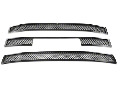Black Horse Off Road Mesh Upper Overlay Grilles - Black (14-15 Sierra 1500 Base, SLE, SLT)