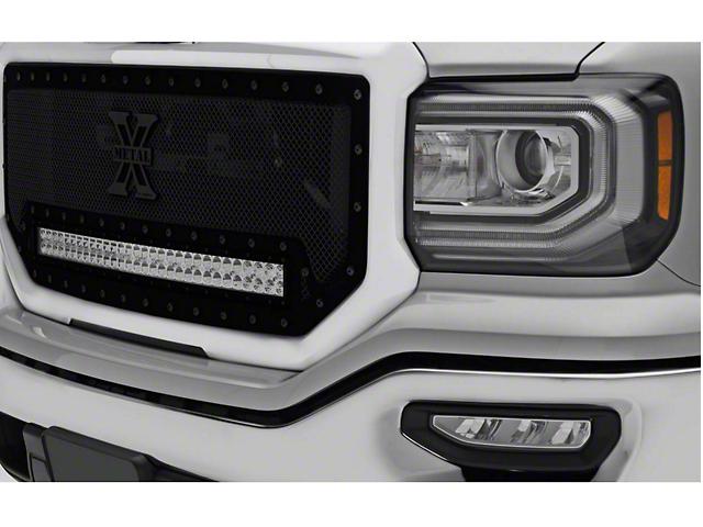 T-REX Stealth Metal Series Upper Grille Insert w/ 30 in. LED Light Bar - Black (16-18 Sierra 1500)