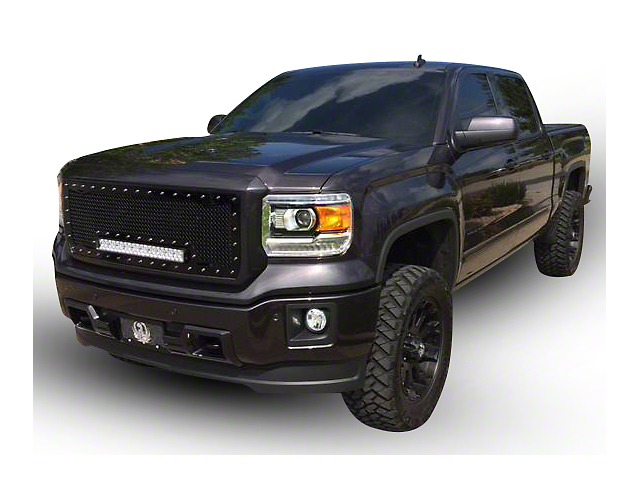 Royalty Core RC1X Incredible Upper Replacement Grille w/ 19 in. LED Light Bar - Black (16-18 Sierra 1500)