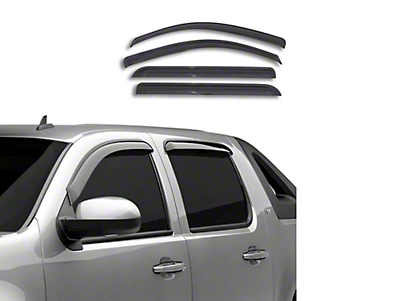 Black Horse Off Road Tape-On Smoke Rain Guards - Front & Rear (14-18 Sierra 1500 Double Cab, Crew Cab)